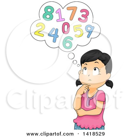 Clipart of a School Girl Thinking About Numbers - Royalty Free Vector Illustration by BNP Design Studio