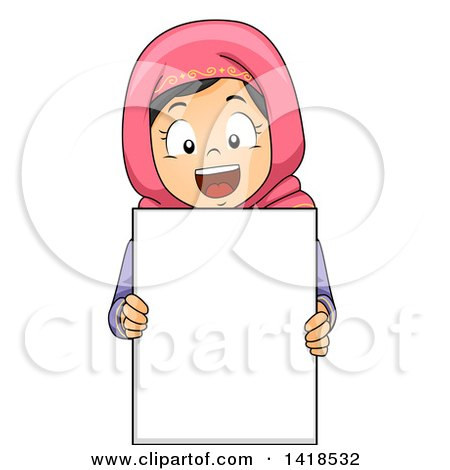 Clipart of a Happy Muslim Girl Holding a Blank Sign - Royalty Free Vector Illustration by BNP Design Studio