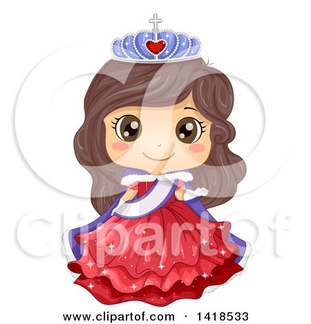 Clipart of a Brunette Caucasian Princess or Beauty Queen - Royalty Free Vector Illustration by BNP Design Studio