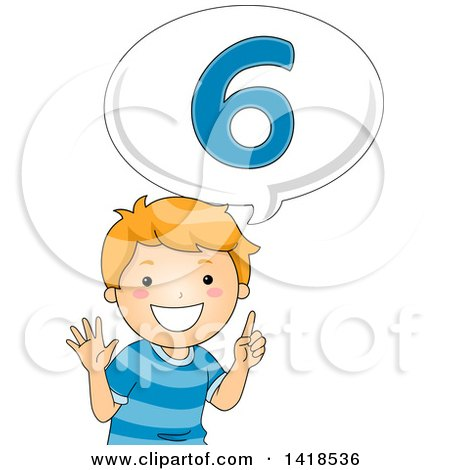 Clipart of a Red Haired Caucasian School Boy Counting and Saying Number 6 - Royalty Free Vector Illustration by BNP Design Studio