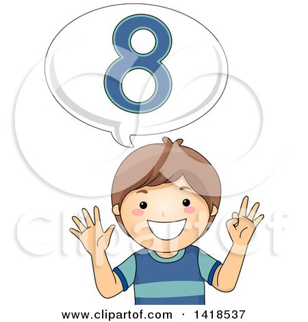 Clipart of a Brunette Caucasian School Boy Counting and Saying Number 8 - Royalty Free Vector Illustration by BNP Design Studio