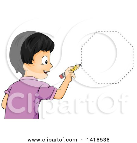 Clipart of a Happy Asian School Boy Drawing an Octagon Shape - Royalty Free Vector Illustration by BNP Design Studio