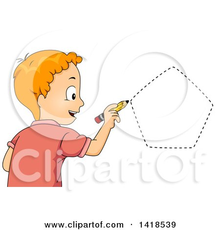 Clipart of a Red Haired Caucasian School Boy Drawing a Pentagon Shape - Royalty Free Vector Illustration by BNP Design Studio