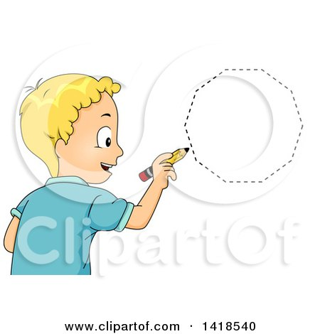 Clipart of a Blond Caucasian School Boy Drawing a Decagon Shape - Royalty Free Vector Illustration by BNP Design Studio