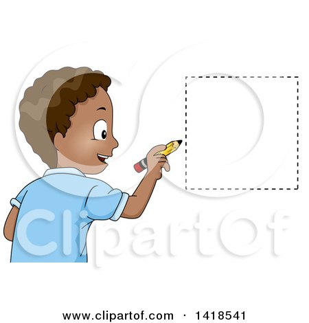 Clipart of a Happy African School Boy Drawing a Square Shape - Royalty Free Vector Illustration by BNP Design Studio