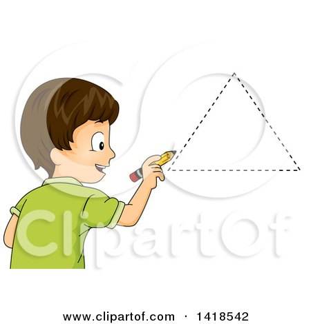 Clipart of a Brunette Caucasian School Boy Drawing a Triangle Shape - Royalty Free Vector Illustration by BNP Design Studio
