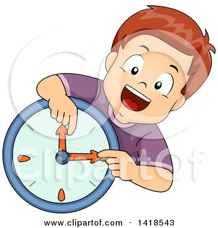 Clipart of a Brunette Caucasian Boy Learning How to Read a Wall Clock - Royalty Free Vector Illustration by BNP Design Studio