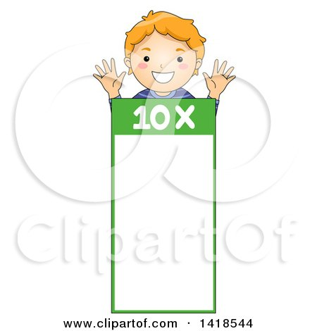 Clipart of a Red Haired Caucasian School Boy over a Number 10 Times Table - Royalty Free Vector Illustration by BNP Design Studio
