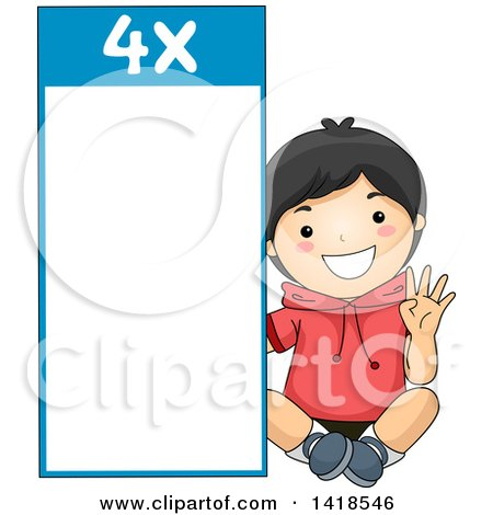 Clipart of a Happy Asian School Boy by a Number 4 Times Table - Royalty Free Vector Illustration by BNP Design Studio