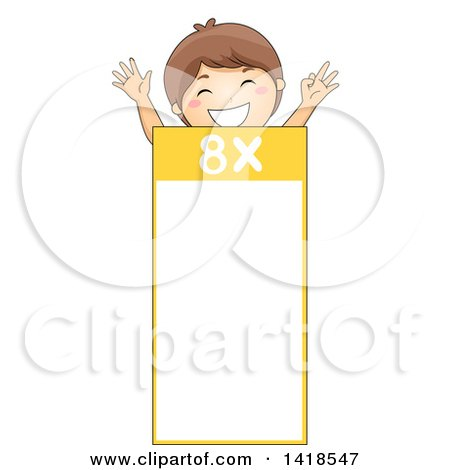 Clipart of a Brunette Caucasian School Boy over a Number 8 Times Table - Royalty Free Vector Illustration by BNP Design Studio