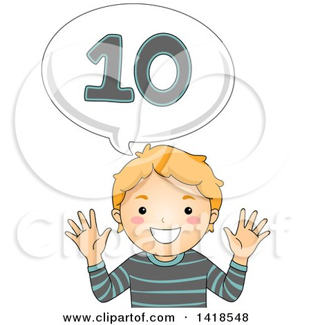 Clipart of a Red Haired Caucasian School Boy Counting and Saying Number 10 - Royalty Free Vector Illustration by BNP Design Studio