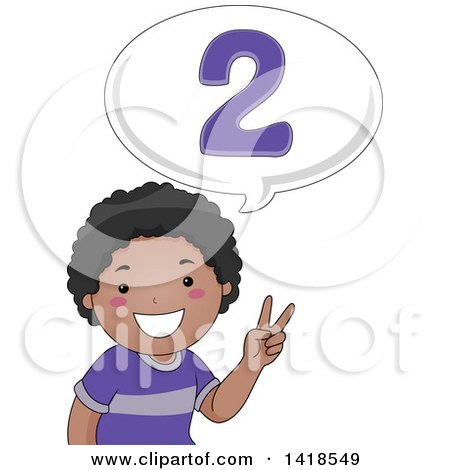 Clipart of a Happy African School Boy Counting and Saying 2 - Royalty Free Vector Illustration by BNP Design Studio