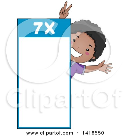Clipart of a Happy African School Boy by a Number 7 Times Table - Royalty Free Vector Illustration by BNP Design Studio