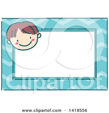 Clipart of a Sketched Brunette Caucasian Boy's Face on a Blue Name Tag Frame - Royalty Free Vector Illustration by BNP Design Studio