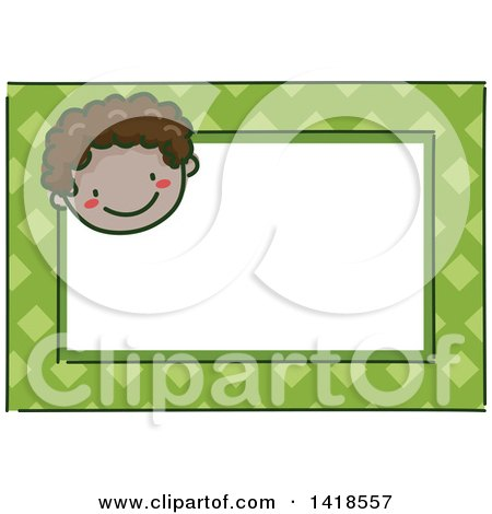 Clipart of a Sketched Black Boy's Face on a Green Name Tag Frame - Royalty Free Vector Illustration by BNP Design Studio