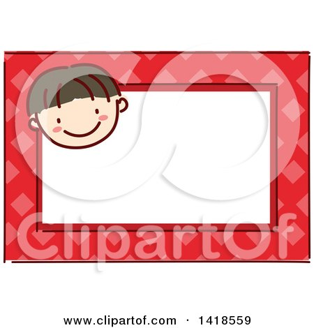 Clipart of a Sketched Asian Boy's Face on a Red Name Tag Frame - Royalty Free Vector Illustration by BNP Design Studio