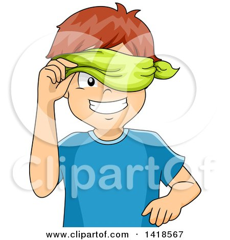 Clipart of a Blindfolded Caucasian Boy Peeking - Royalty Free Vector Illustration by BNP Design Studio