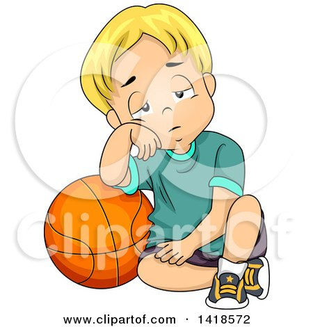 Clipart of a Tired Blond Caucasian Boy Leaning on a Basketball - Royalty Free Vector Illustration by BNP Design Studio