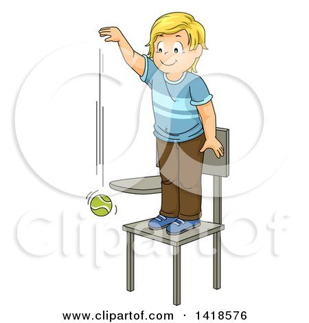Clipart of a Blond Caucasian School Boy Standing on a Chair and Dropping a Ball - Royalty Free Vector Illustration by BNP Design Studio