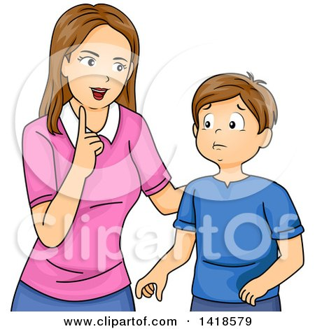 Clipart of a Brunette Caucasian Mother Lecturing Her Son or Teaching Him Values - Royalty Free Vector Illustration by BNP Design Studio