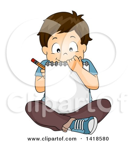 Clipart of a Brunette Caucasian School Boy Sitting on the Floor and Sketching in a Notebook - Royalty Free Vector Illustration by BNP Design Studio