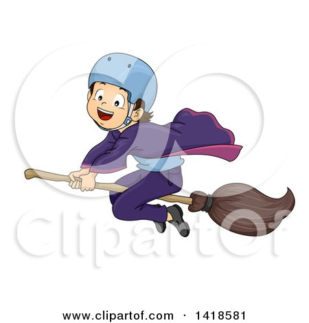 Clipart of a Brunette Caucasian Wizard Boy Riding a Broomstick - Royalty Free Vector Illustration by BNP Design Studio