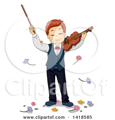 Clipart of a Caucasian Boy Being Showered with Flowers After Playing a Violin - Royalty Free Vector Illustration by BNP Design Studio