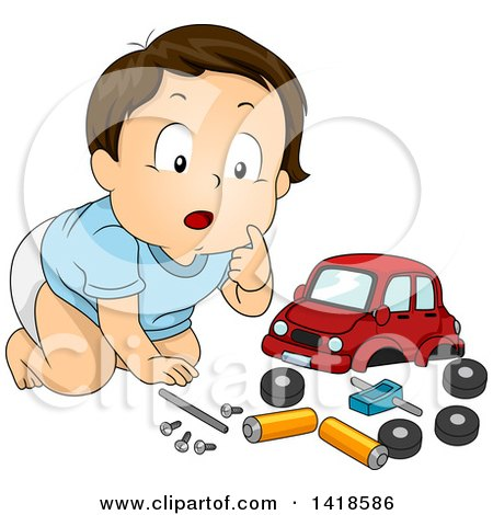 Clipart of a Brunette Caucasian Baby Boy Playing with a Toy Car and Parts - Royalty Free Vector Illustration by BNP Design Studio