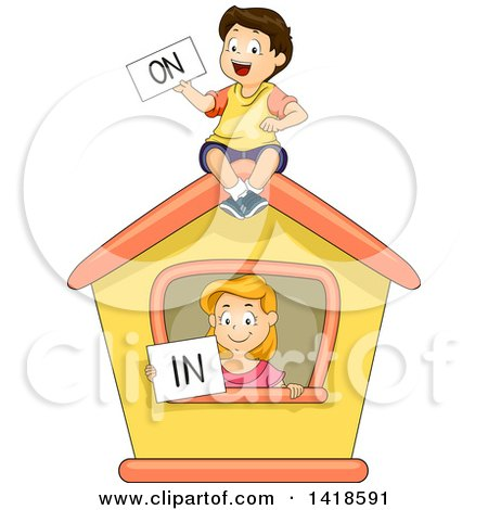 Clipart of a Caucasian School Boy and Girl Holding on and in Signs - Royalty Free Vector Illustration by BNP Design Studio