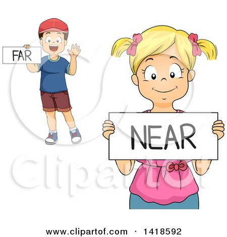 Clipart of a Caucasian School Boy and Girl Holding Far and near Signs - Royalty Free Vector Illustration by BNP Design Studio