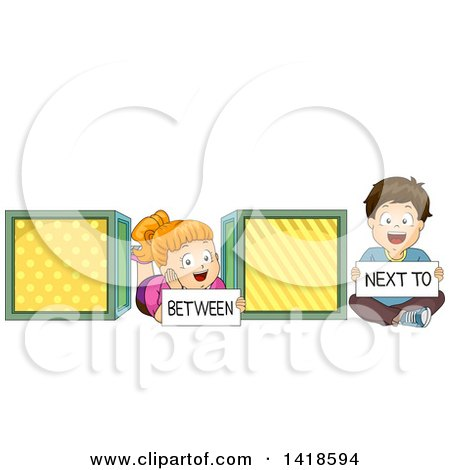 Clipart of a Caucasian School Boy and Girl Showing the Difference of Between and Next to - Royalty Free Vector Illustration by BNP Design Studio