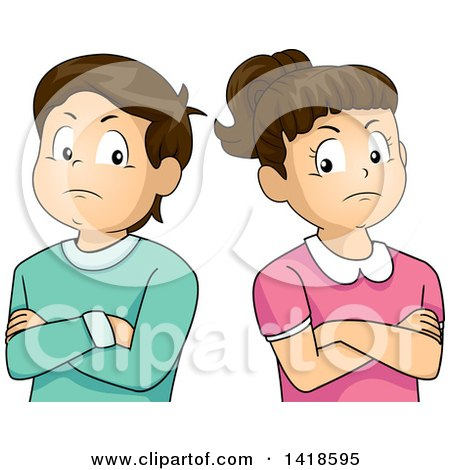 Clipart of a Stubborn Brunette Caucasian Boy and Girl with Folded Arms, Standing Back to Black - Royalty Free Vector Illustration by BNP Design Studio