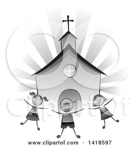Clipart of a Grayscale Group of Children Playing in Front of a Church - Royalty Free Vector Illustration by BNP Design Studio