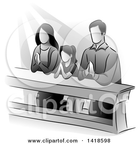 Clipart of a Grayscale Family Kneeling and Praying - Royalty Free Vector Illustration by BNP Design Studio