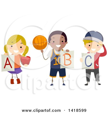 Clipart of a Group of School Children Holding Alphabet Letters - Royalty Free Vector Illustration by BNP Design Studio