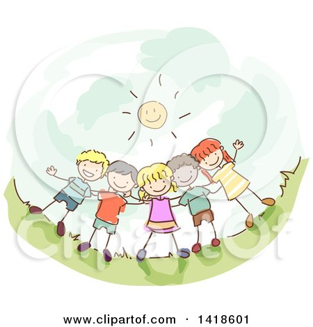 Group of Stick Children Under a Happy Sun Posters, Art Prints