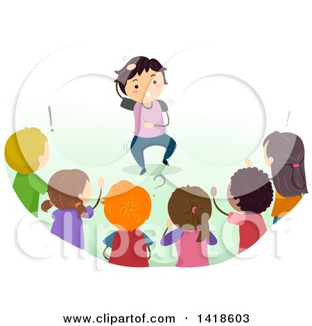 Clipart Of A Group Of Children Playing A Game Of Charades
