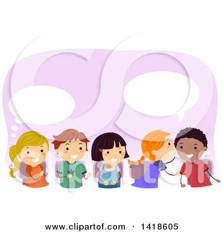 Clipart of a Group of School Children Whispering and Passing a Message - Royalty Free Vector Illustration by BNP Design Studio