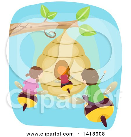 Clipart of a Group of Children Flying on Bees to a Hive - Royalty Free Vector Illustration by BNP Design Studio