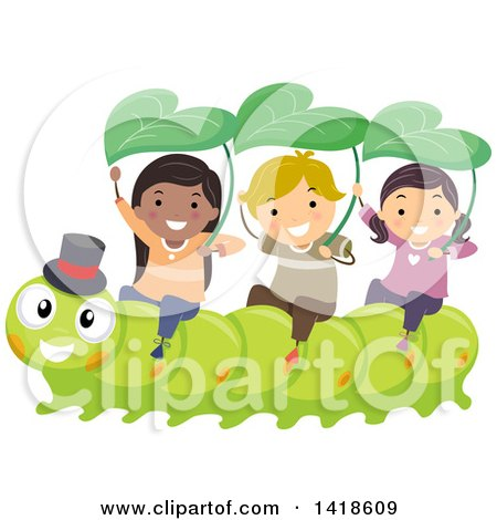 Clipart of a Group of Children Riding on a Caterpillar - Royalty Free Vector Illustration by BNP Design Studio