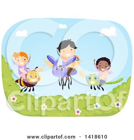 Clipart of a Group of Children on Flying Bugs - Royalty Free Vector Illustration by BNP Design Studio