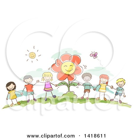 Clipart of a Group of Sketched Children Holding Hands by a Flower - Royalty Free Vector Illustration by BNP Design Studio