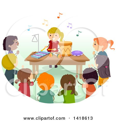 Clipart of a Group of Children Watching a Girl Play Musical Instruments in Class - Royalty Free Vector Illustration by BNP Design Studio