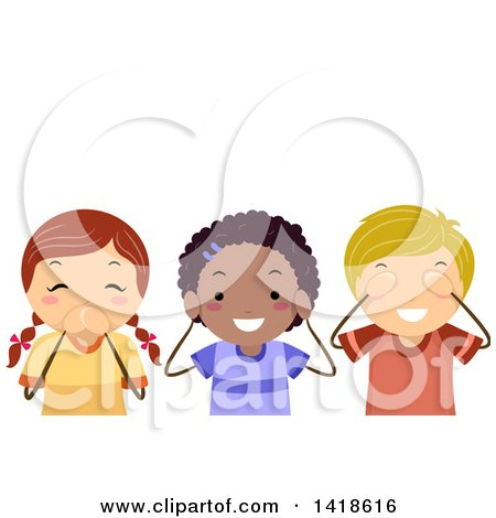 Clipart of a Group of Children Covering Their Mouth, Ears and Eyes - Royalty Free Vector Illustration by BNP Design Studio