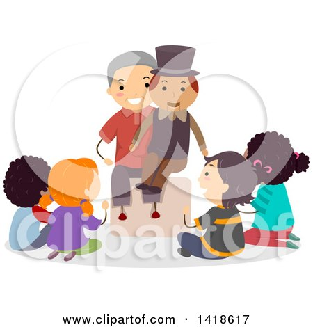 Clipart of a Group of Children Sitting Around a Ventriloquist - Royalty Free Vector Illustration by BNP Design Studio