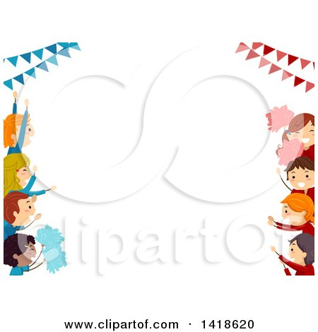 Clipart of a Border of Opposing Children Cheering for Their Teams - Royalty Free Vector Illustration by BNP Design Studio