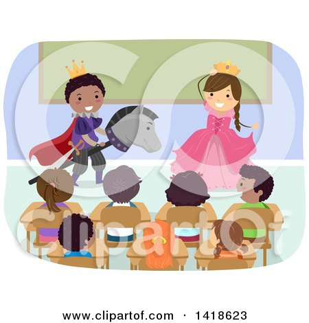 Clipart of a Class of School Children Watching a Play - Royalty Free Vector Illustration by BNP Design Studio