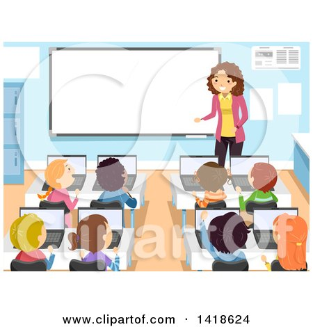 royalty free rf computer class clipart illustrations vector rh clipartof com computer classroom clipart School Library Clip Art