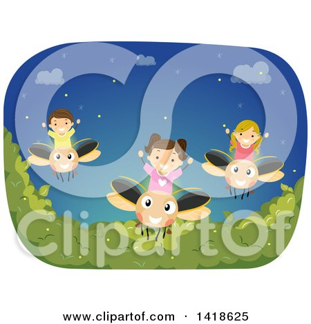 Clipart of a Group of Children on Firefly Bugs - Royalty Free Vector Illustration by BNP Design Studio