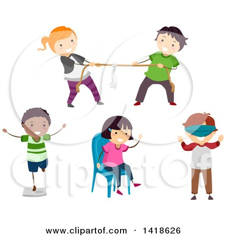 Clipart of a Group of Children Playing Parlor Games - Royalty Free Vector Illustration by BNP Design Studio